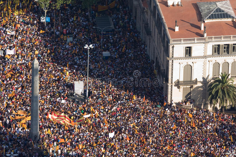 Download Catalan demonstration editorial stock photo. Image of europe - 26562568