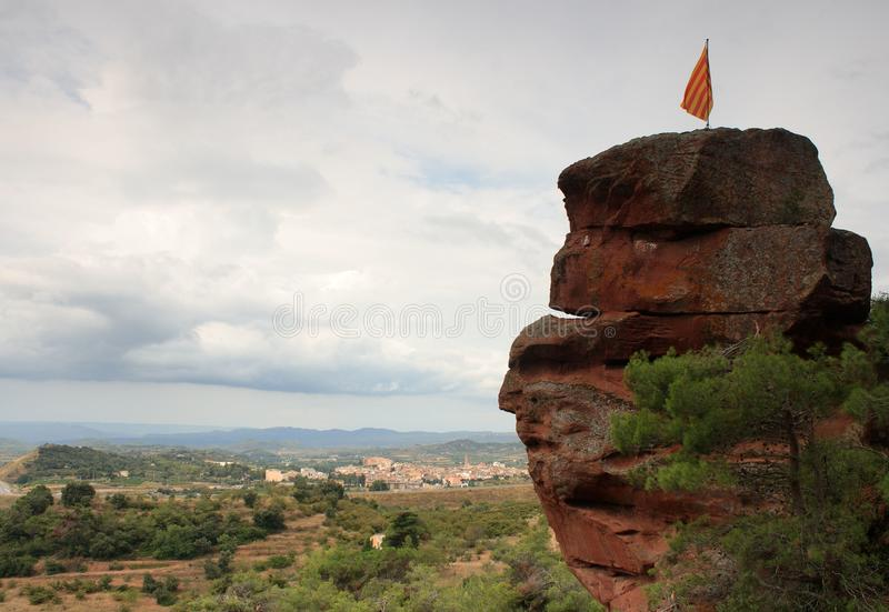 Download Catalan flag on a rock top stock photo. Image of spain - 17119850