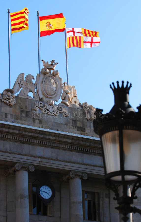 catalan flags spanjor arkivbilder