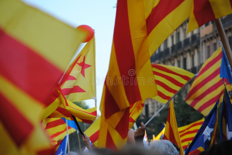 Catalan flags in 11th September demonstration in Barcelona stock photos