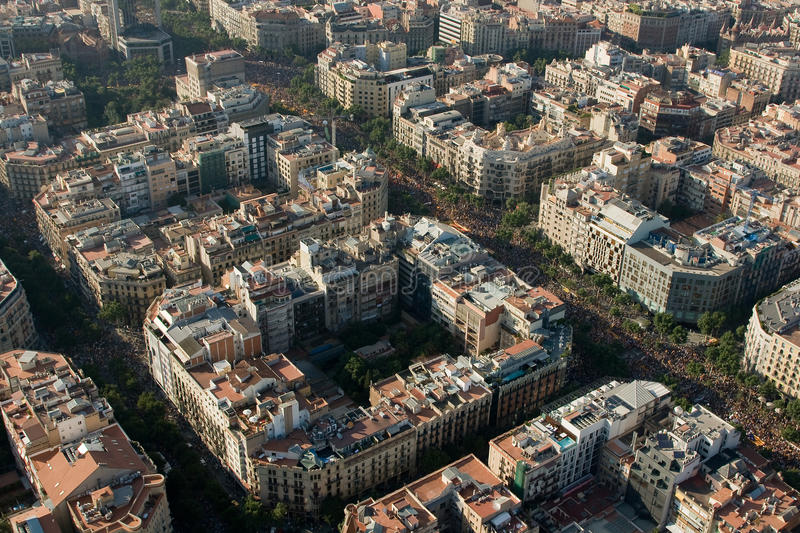 Demonstration in Barcelona. BARCELONA, SPAIN - JULY 10: Up to a million people converge on Barcelona to join a rally demanding independence for Catalonia, on royalty free stock image