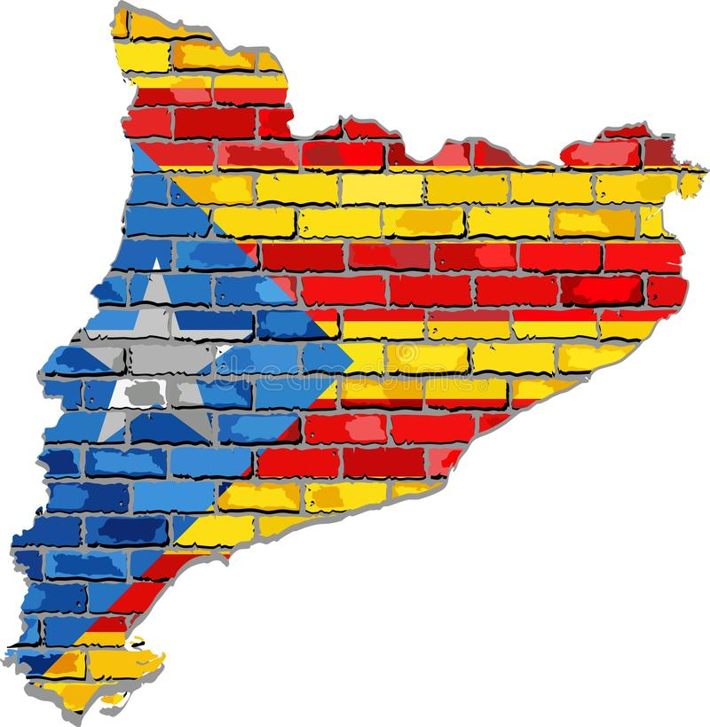 Catalan map on a brick wall. Illustration, Catalonia map and flag with a white star royalty free illustration