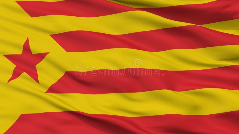 Catalan Nationalism Flag Closeup View. Catalan Nationalism Flag, Closeup View, 3D Rendering royalty free illustration
