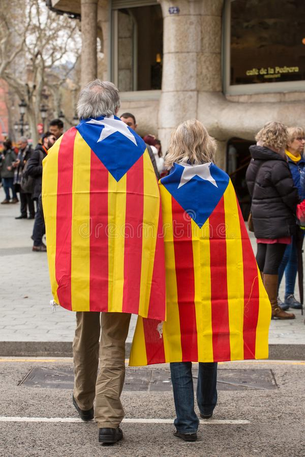 Catalan people at rally demanding independence for Catalonia royalty free stock photo