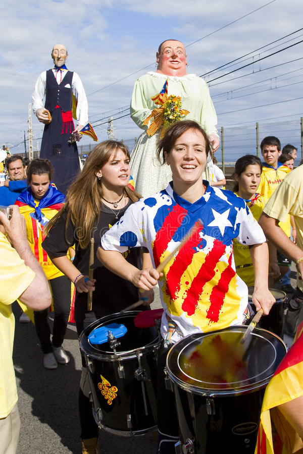 Catalans made a 400 km independence human chain stock images