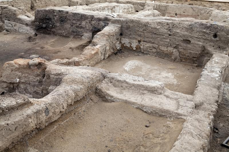 Catalhoyuk Konya Turkey. Built in 7500 B.C. Photo taken on: Ma. Catalhoyuk ,Konya - March 23,2014 : Oldest town in the world in Turkey. It is the largest and royalty free stock photo