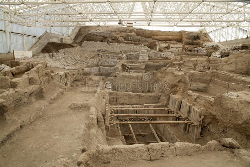 Catalhoyuk Konya Turkey. Built in 7500 B.C. Photo taken on: Ma. Catalhoyuk ,Konya - March 23,2014 : Oldest town in the world in Turkey. It is the largest and stock photo