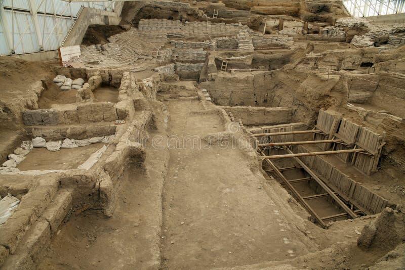 Catalhoyuk Konya (Turkey. ). Built in 7500 B.C. Photo taken on: March 23th, 2014 royalty free stock photos