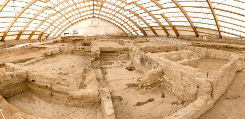 Catalhoyuk Oldest Town in World. Catalhoyuk is oldest town in world with large Neolithic and Chalcolithic best preserved city settlement in Cumra, Konya. It was stock image