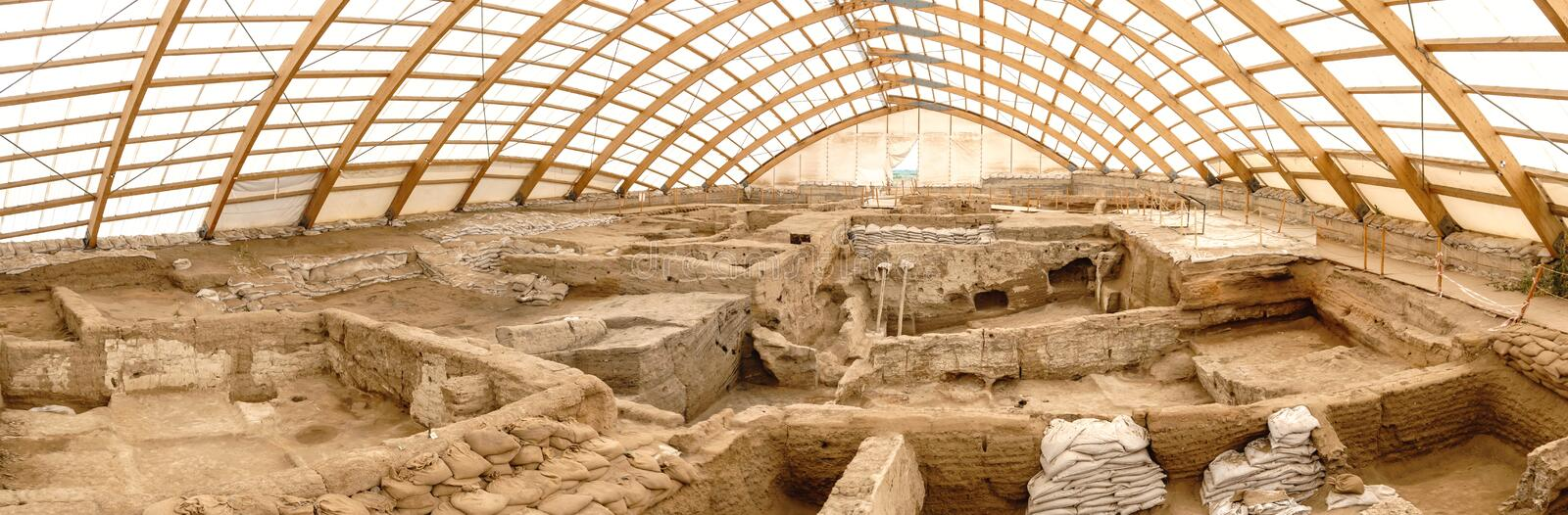 Catalhoyuk Oldest Town in World. Catalhoyuk is oldest town in world with large Neolithic and Chalcolithic best preserved city settlement in Cumra, Konya. It was royalty free stock photography