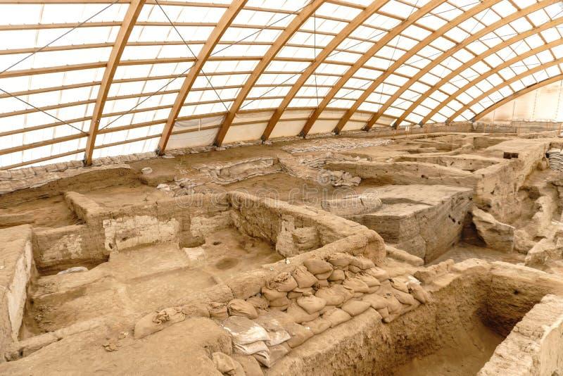 Catalhoyuk Oldest Town in World. Catalhoyuk is oldest town in world with large Neolithic and Chalcolithic best preserved city settlement in Cumra, Konya. It was royalty free stock image