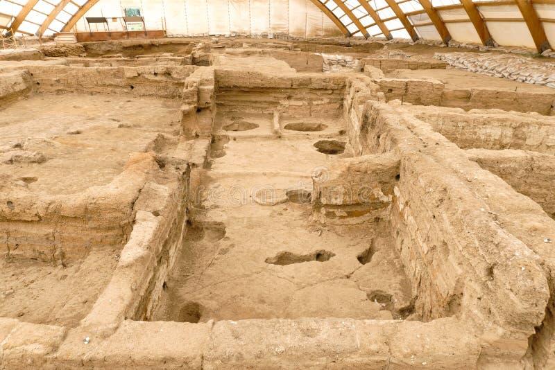 Catalhoyuk Oldest Town in World. Catalhoyuk is oldest town in world with large Neolithic and Chalcolithic best preserved city settlement in Cumra, Konya. It was royalty free stock photos