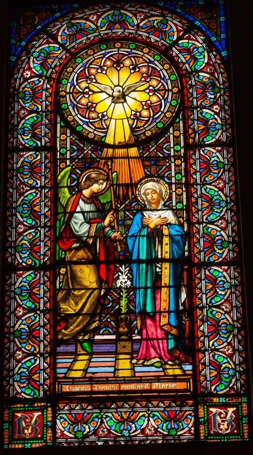 Catalo de Montserrat do monastério de Mary do Espírito Santo do anjo do vitral fotografia de stock royalty free