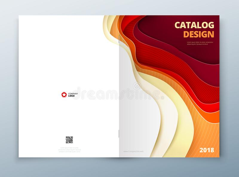 Catalog cover design. Paper carve abstract cover for brochure flyer magazine or catalog design. Cover in red orange stock illustration