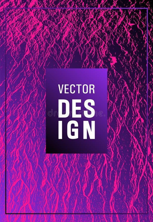 Catalog cover vector template. Plastic pink, proton purple esports texture. Buzzing flux ripple movement background. Marketing catalog trendy layout design stock illustration