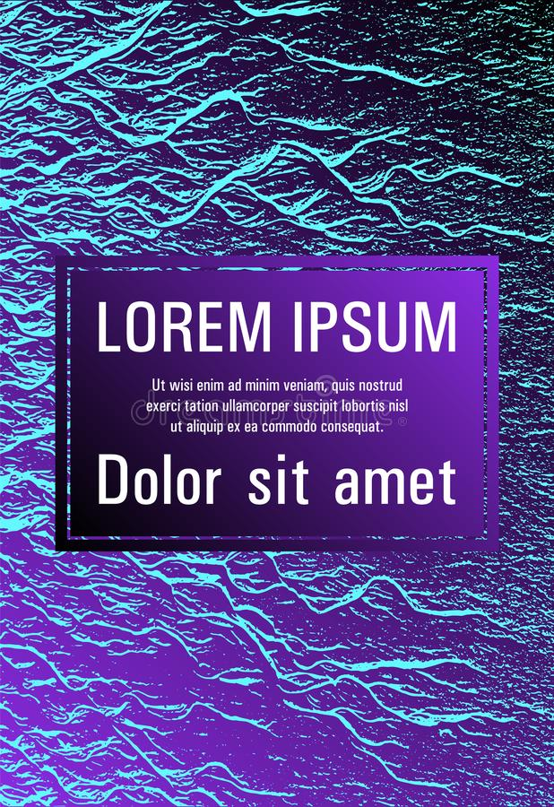 Catalog cover vector template. Proton purple and cyan blue esports texture. Fluid buzzing wavy noise ripple texture. Geometric typography cover. Marketing royalty free illustration