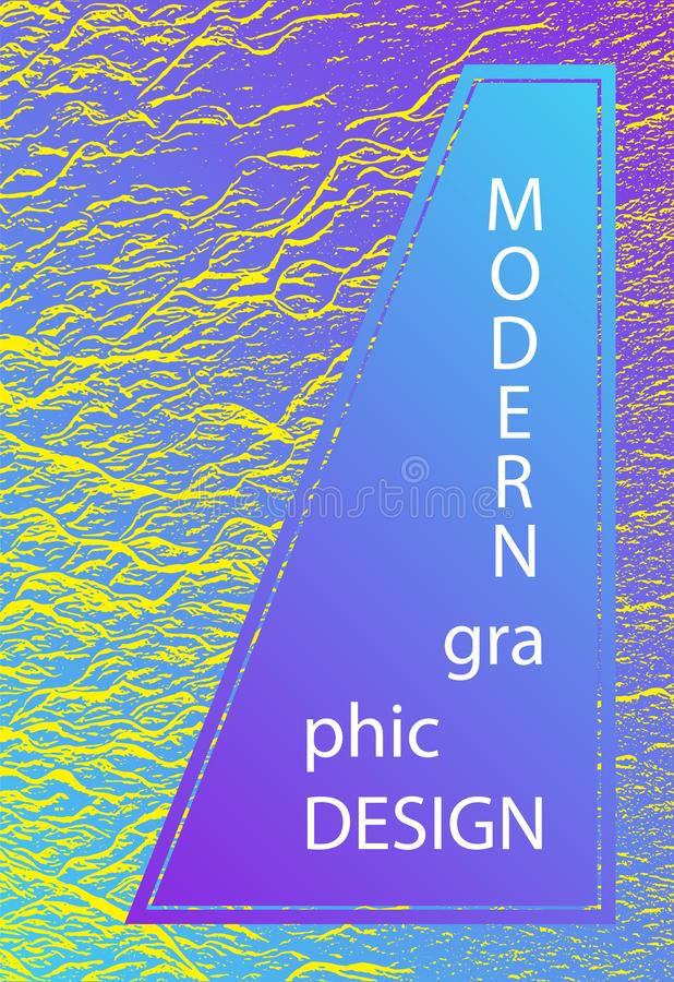 Catalog cover vector template. Violet blue yellow arthouse effect texture. Marketing catalog trendy layout design. Liquid rippling motion background pattern stock illustration