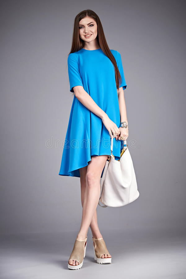 Catalog of fashion clothes for business woman mom casual office style meeting walk party silk cotton dress summer collection stock images