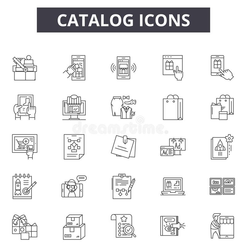 Catalog line icons, signs, vector set, outline illustration concept stock illustration
