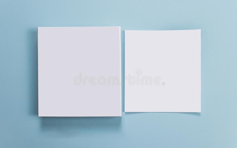 Catalog mockup, blue backdrop, isolated background, for graphic designer.  royalty free stock photography