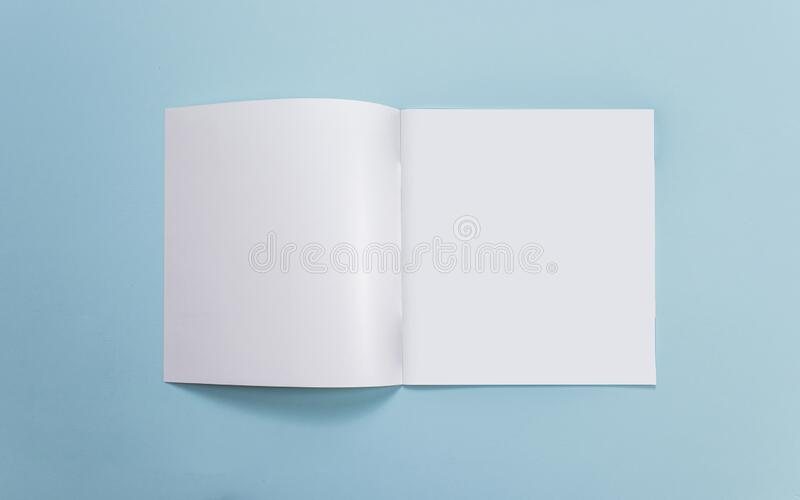 Catalog mockup, blue backdrop, isolated background, for graphic designer.  stock photos