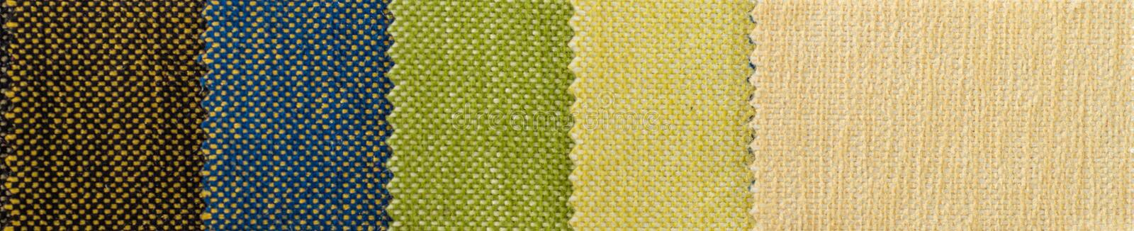Catalog of multicolored cloth from matting fabric texture background, silk fabric texture. Textile industry background stock images