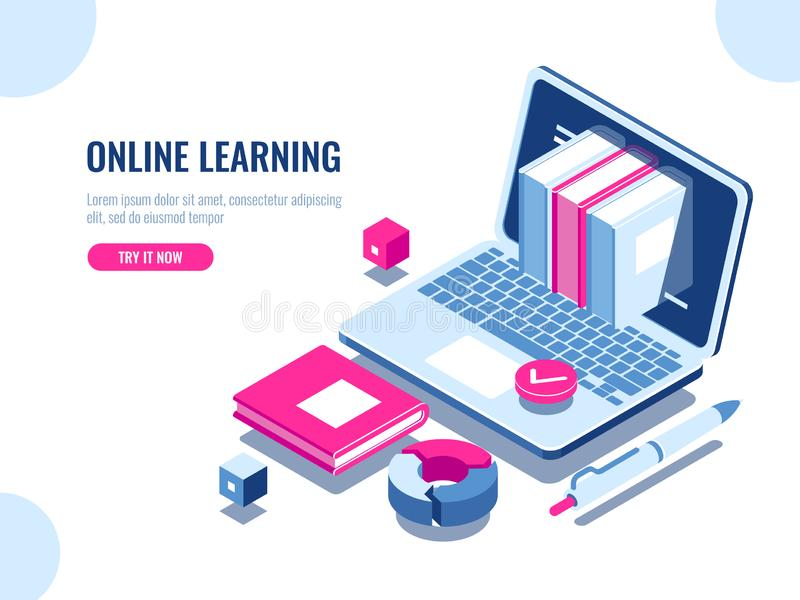 Catalog of online courses isometric icon, online education, internet learning, laptop with book on screen, seo vector illustration