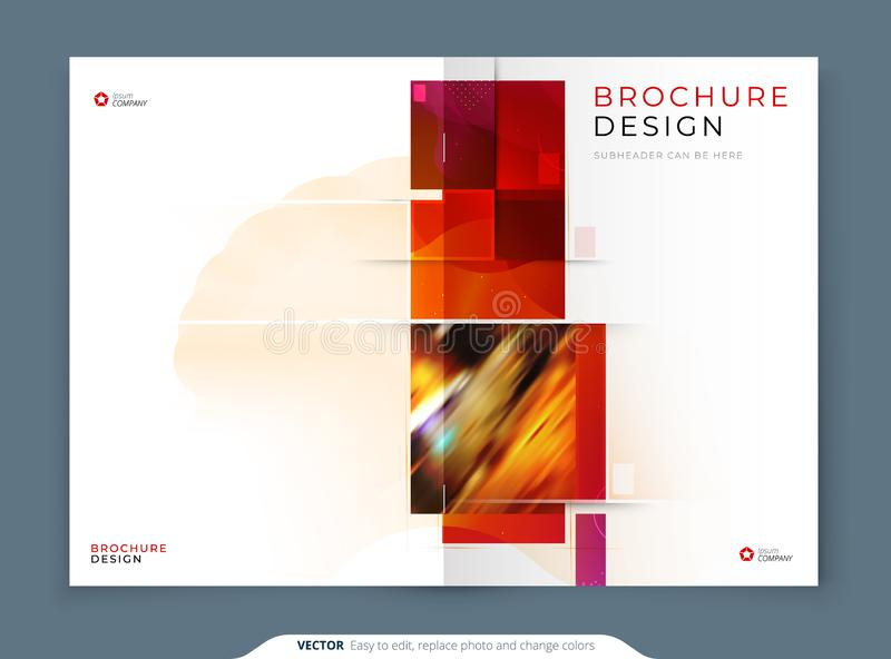 Catalog template layout design. Corporate business annual report, catalog, magazine, flyer mockup. Creative modern. Bright catalogue concept with square shapes stock illustration