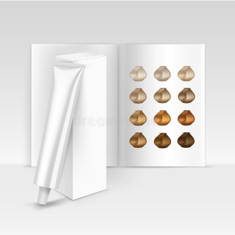 Catalogo d'imballaggio della tavolozza della scatola della maschera del balsamo dello sciampo della tintura di colore dei capelli royalty illustrazione gratis