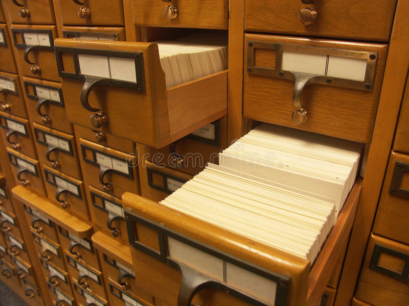 Catalogo di scheda - due cassetti fotografia stock