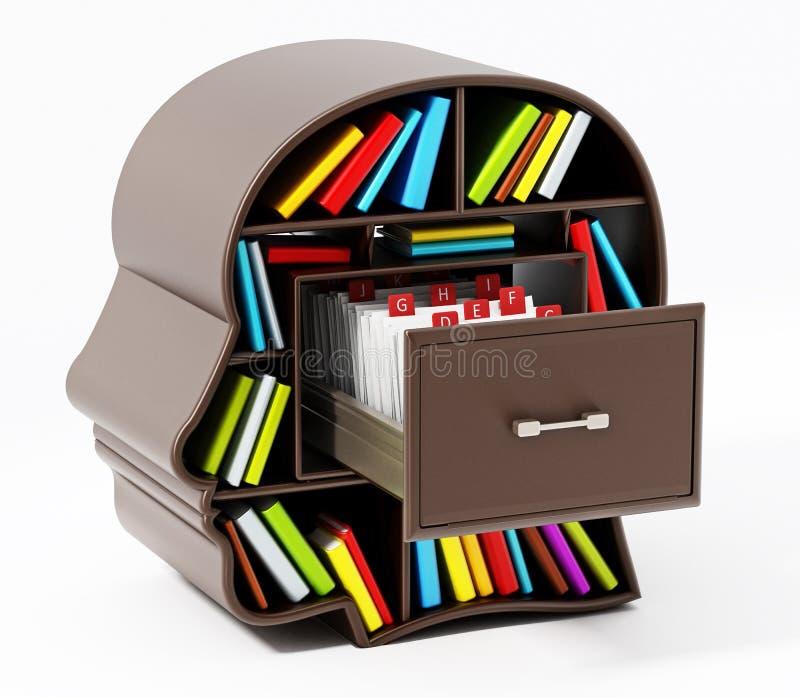 Catalogue de fiche à l'intérieur du tiroir principal de bibliothèque illustration 3D illustration de vecteur