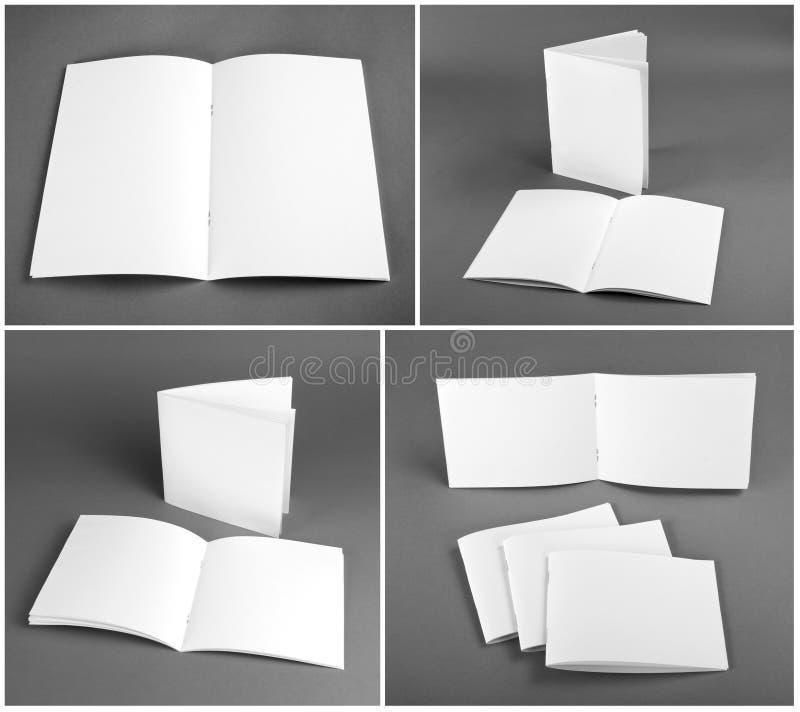 Catalogue vide, brochure, magazines, moquerie de livre  photos stock