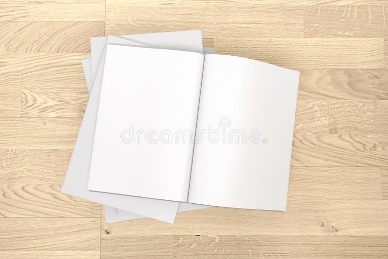 Catalogue vide, magazines, moquerie de livre sur le fond en bois photographie stock libre de droits