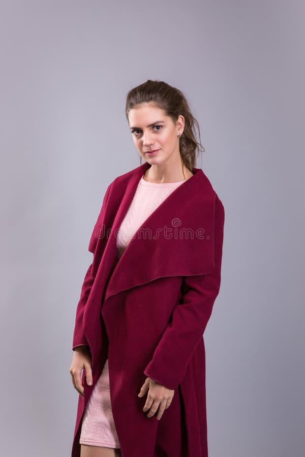 Cataloguez la photo de style de vêtements de la jeune femme au-dessus du fond gris Modèle de brune images libres de droits