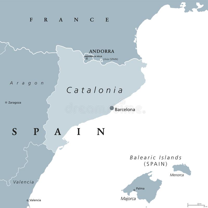 Catalonia autonomous community of Spain, gray map royalty free illustration