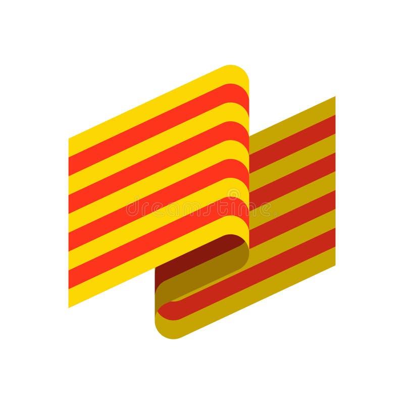 Catalonia flag isolated. Estelada Blava banner ribbon. Symbol of vector illustration