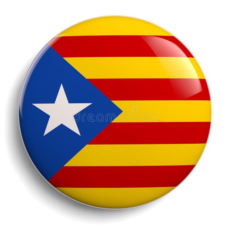 Catalonia Flag Round Badge Isolated on White vector illustration