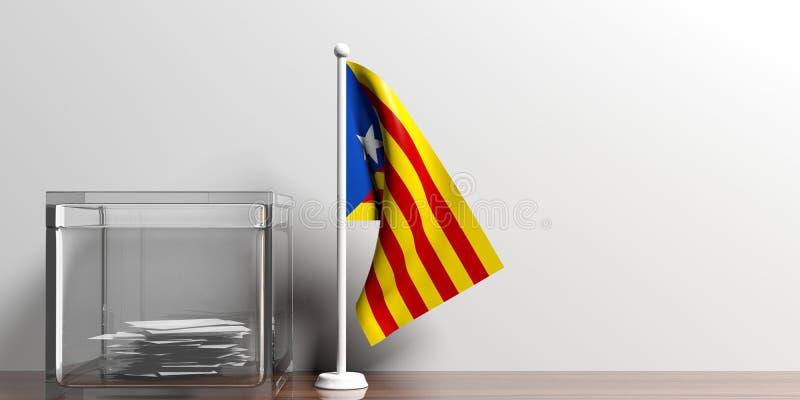 Catalonia flaga obok szklanego tajnego głosowania pudełka na drewnianej powierzchni ilustracja 3 d ilustracji