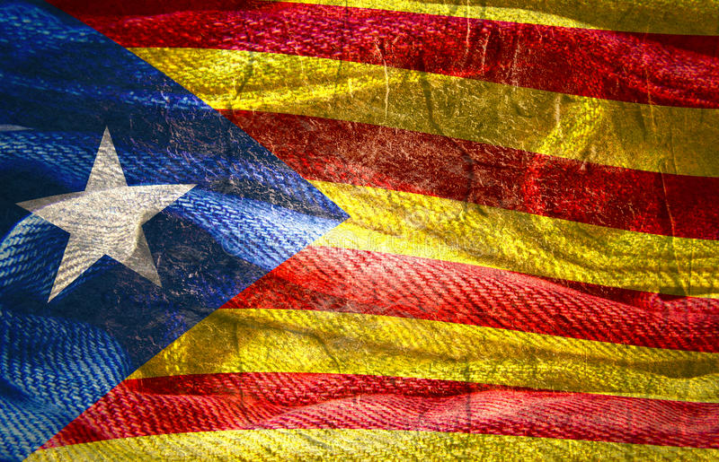 Catalonia grunge textured flaga ilustracji