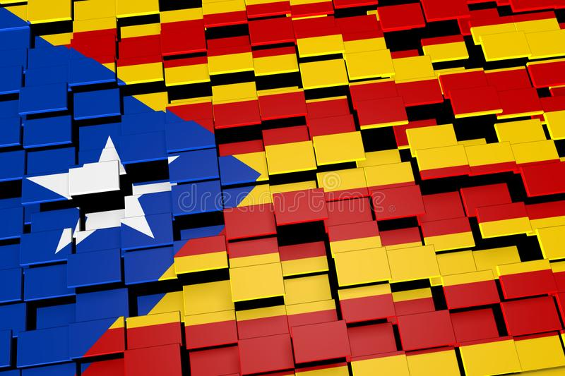 Catalonia independence flag background formed from digital mosaic tiles, 3D rendering royalty free illustration