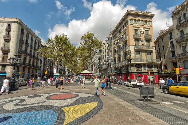 Catalonia Ramblas, Barcelona Spain imagem de stock