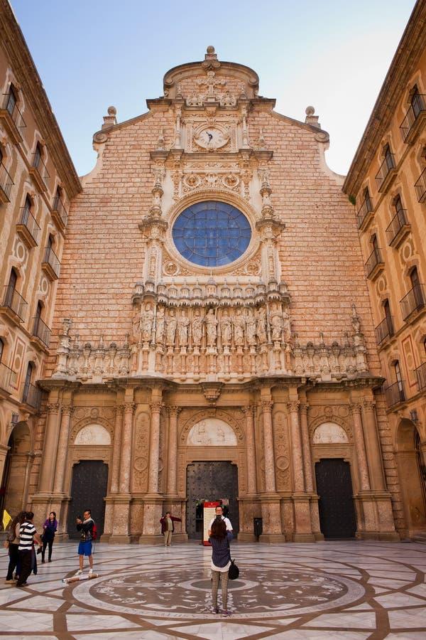Basilica of Montserrat Monastery in Spain. Catalonia, Spain - May 23, 2014: Atrium of the Basilica of Montserrat Monastery, church with Plateresque Revival stock photos