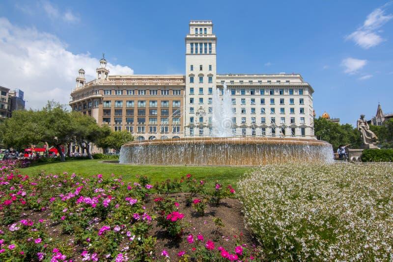 Catalonia Square Placa de Catalunya, Barcelona, Spain royalty free stock photos