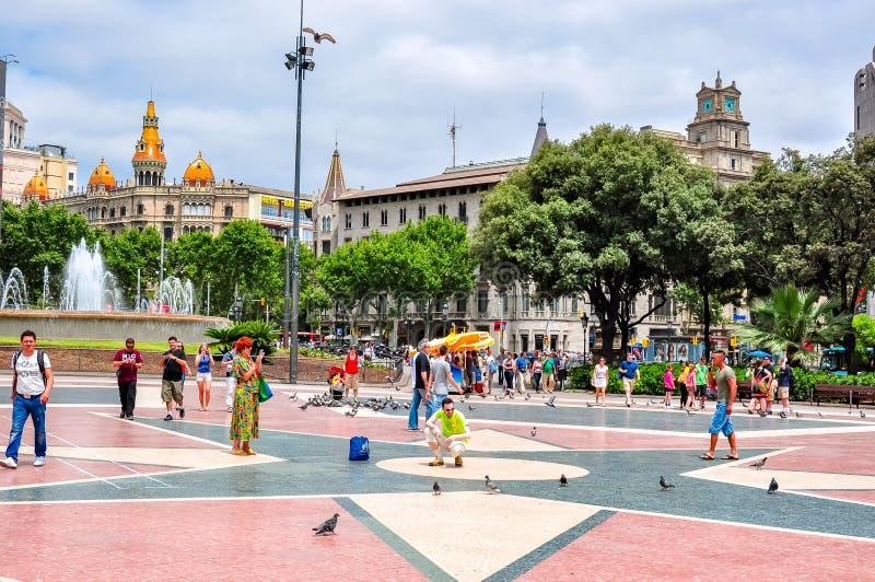 Catalonia Square Placa de Catalunya in Barcelona, Spain stock photo