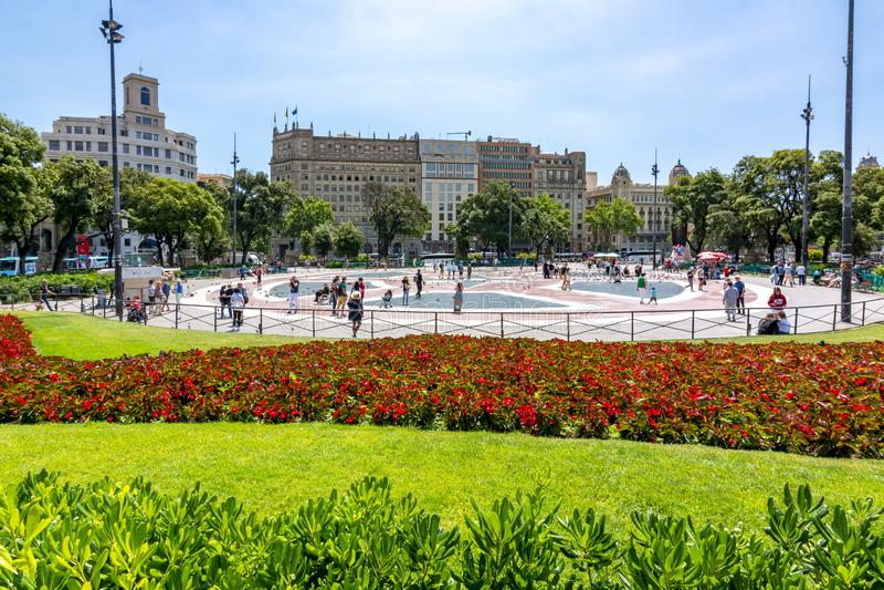 Catalonia Square Placa de Catalunya in Barcelona, Spain stock image