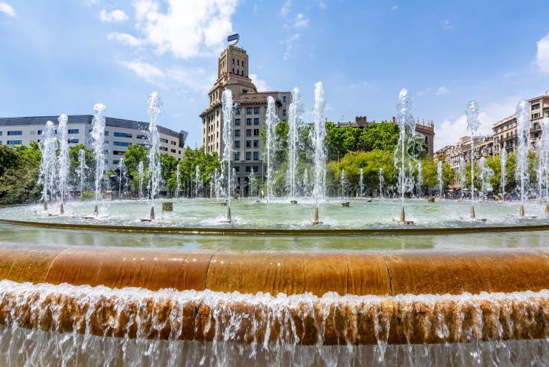 Catalonia Square Placa de Catalunya fountain, center of Barcelona, Spain royalty free stock image