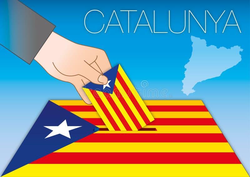 Catalonia tajnego głosowania pudełko, flaga i mapa z ręką, ilustracja wektor