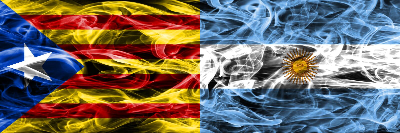 Catalonia vs Argentina copy smoke flags placed side by side. Thick colored silky smoke flags of Catalan and Argentina copy.  royalty free illustration