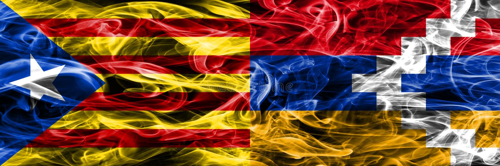 Catalonia vs Artsakh copy smoke flags placed side by side. Thick colored silky smoke flags of Catalan and Artsakh copy.  stock illustration