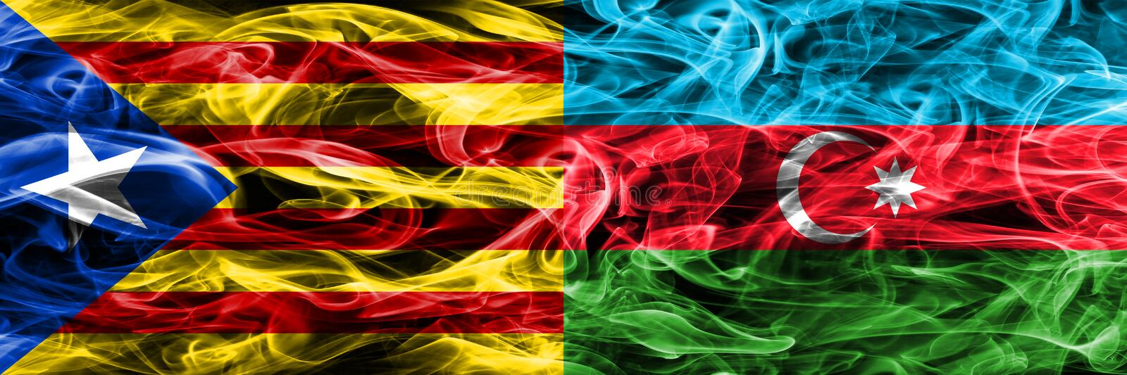 Catalonia vs Azerbaijan copy smoke flags placed side by side. Thick colored silky smoke flags of Catalan and Azerbaijan copy.  stock illustration